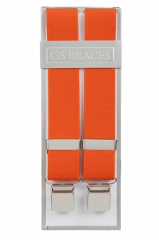 Plain Orange Trouser Braces With Large Clips