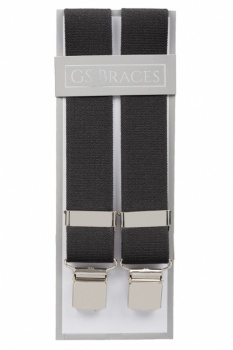 Plain Grey Trouser Braces With Large Clips