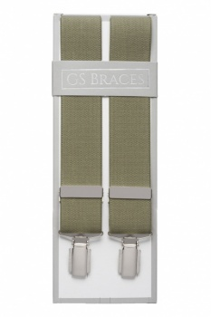 Plain Olive Green Braces For Trousers