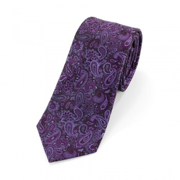 Purple Paisley Tie and White Handkerchiefs Bundle