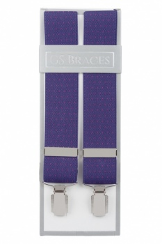 Purple Suit Trouser Braces With Pink Dots