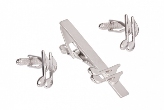Quaver Cufflinks and Tie Clip Set