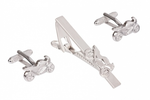 Racing Motorbike Cufflinks and Tie Clip Set