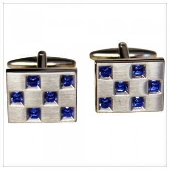Rectangular Brushed Rhodium Cufflinks with Sapphire Blue Crystal Stones