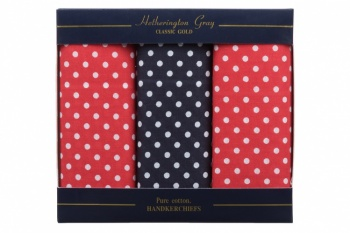 Red and Navy Blue Spotted Handkerchiefs
