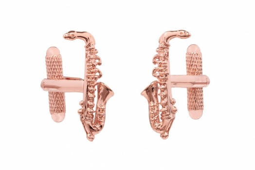 Rose Gold Saxophone Cufflinks