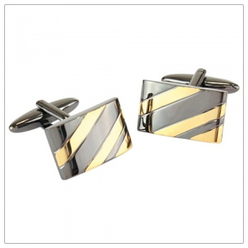 Shiny Gunmetal and Gold Cufflinks
