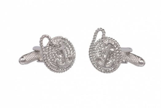 Ships Anchor Cufflinks with Coiled Rope