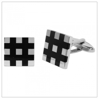 Silver and Black Square Cufflinks