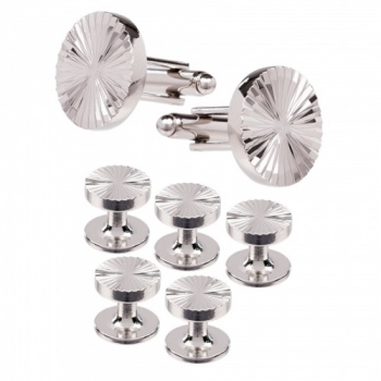 Silver Dress Shirt Studs and Cufflink Set