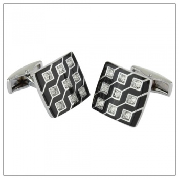 Square Black Cufflinks with Clear Crystal Stones