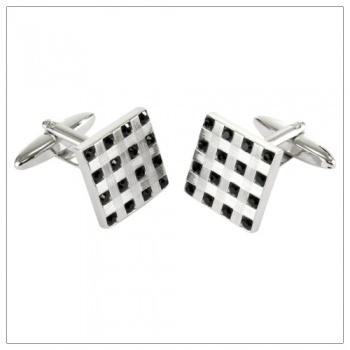 Square Cufflinks with Jet Black Stones