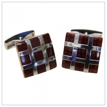 Square Deep Red Brown Cufflinks
