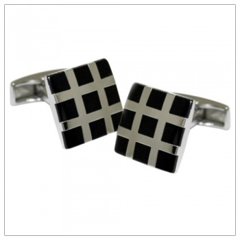 Square Grid Black Cufflinks