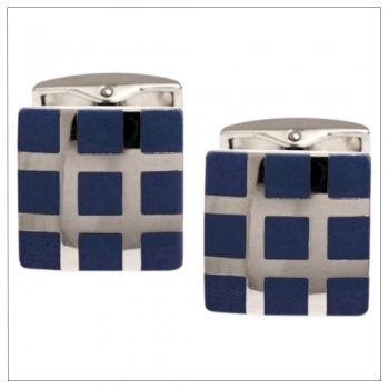 Square Grid Navy Blue Cufflinks