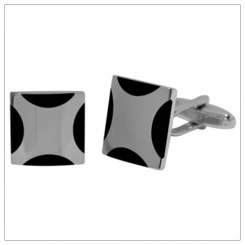 Square Silver and Black Shirt Cufflinks