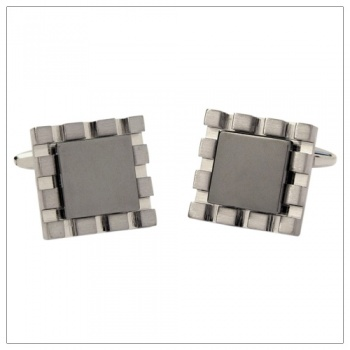 Square Suit Cufflinks with Gunmetal Colour Centre