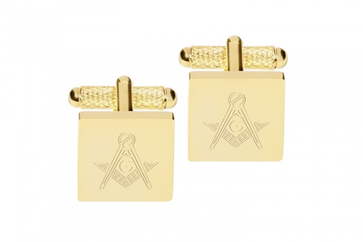 Square Engraved Masonic Cufflinks with G  - Gold
