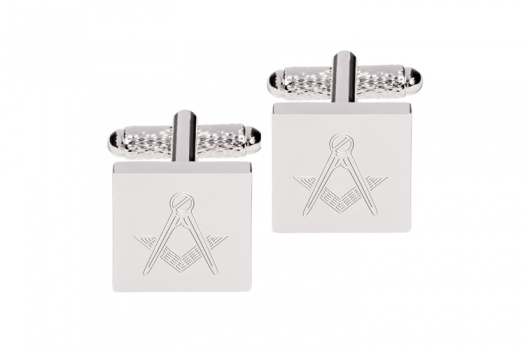 Square Engraved Masonic Cufflinks Silver