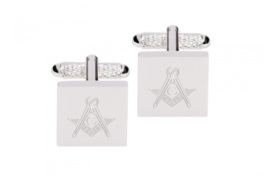 Square Engraved Masonic Cufflinks with G  - Silver