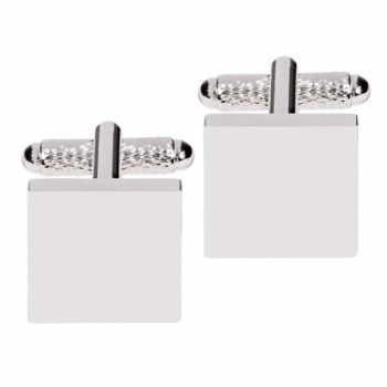 Square Plain Cufflinks in Silver
