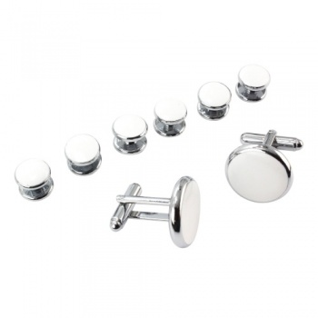 White Dress Shirt Studs and Cufflinks