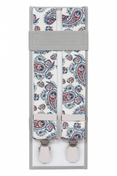 White Paisley Trouser Braces