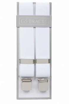 Plain White Trouser Braces With Large Clips
