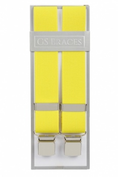 Plain Yellow Trouser Braces With Large Clips