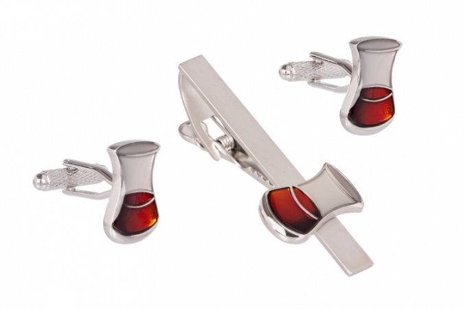 Whisky Glass Cufflinks and Tie Clip Set