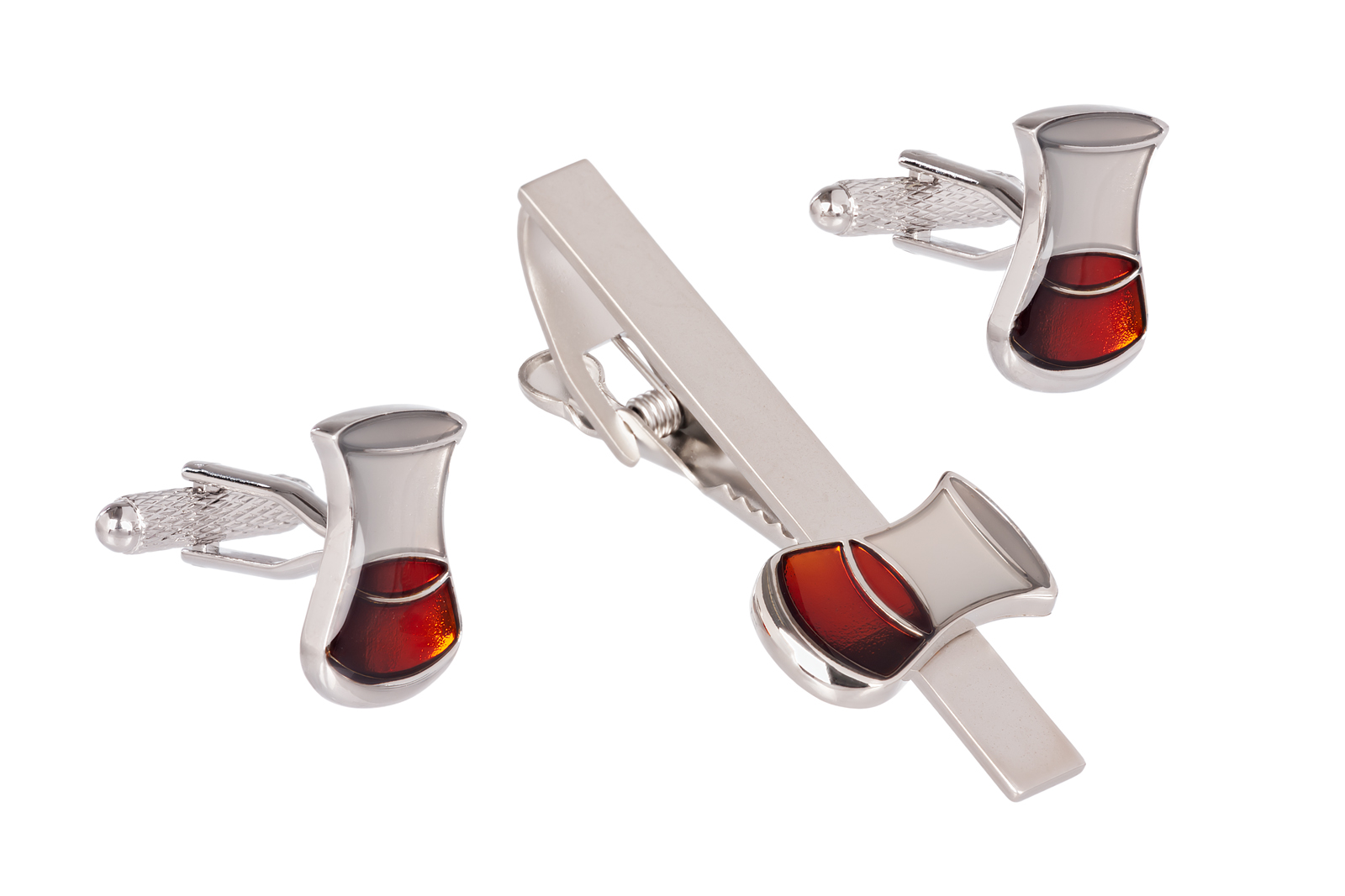 Whisky Cufflinks and Tie Clip Set